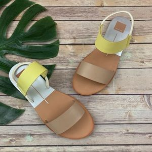 Dolce Vita Neily yellow and brown flat sandals